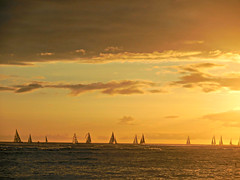 sunset in Waikiki (kenjet) Tags: ocean sunset sun beach nature landscape boats hawaii evening boat waikiki oahu pacificocean sailboats waikikibeach