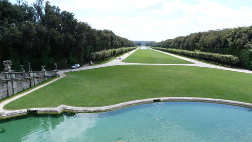 Reggia Caserta - Bourbon royal palace, water cascade, view to palace from grotto