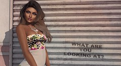 | What Are You Looking At? | (Xaqueline) Tags: haikei zzang hucci spell egozy leforme mayfly slink physique meshbody catwa meshhead littlebones uber mba secondlife sl avatar femaleavatar ethnic darkskin