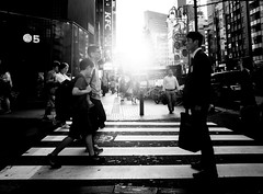 .[the] standing man. (Shirren Lim) Tags: street tokyo shinjuku monochrome people crossroads japan ricoh graphic lines abstract outdoor park symmetry sunset bw light