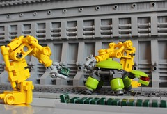 Assembly Line (Legoloverman) Tags: factory lego turtle lime assemblyline lmd robotarm robotturtle lmdprocessor