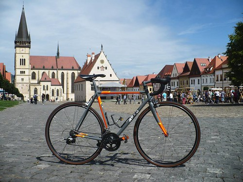 Destination reached! Northeast town Bardejov with its most preserved medieval square (enrolled as UNESCO whs) **Well done Bici, handcrafted frame of fine Columbus Life tubes.** **And hey, while having great weekend you may think about a frame from Arko Bi