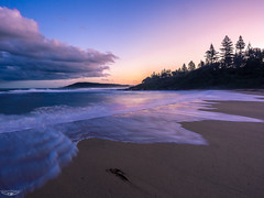 Toowoon Bay Sunset (Laith Stevens Photography) Tags: sunset toowoon bay nsw central coast australia pink blue yellow waves sand sea ocean golden hour olympus omd em1 1240mmf28 relaxing calm clear cloud long exposure