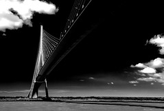 high contrast fine art B&W view of Pont du Normandie arching overhead, Honfleur, Normandie, France (grumpybaldprof) Tags: pontdenormandie bridge amazing huge impressive longestuntil2004 normandy france normandie bridgeofnormandycablestayed cablestayedroadbridge lehavre honfleur seine riverseine laseine michelvirlogeux normanfoster river piers cables road traffic sky ocean altantic rock concrete patters lines angles white blackandwhite bw blackwhite monochrome contrast black dramatic soaring overhead pont clouds water lehavre crossing