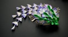 Fuji tsumami zaiku. Wisteria hair comb for maiko henshin (Bright Wish Kanzashi) Tags: tsumamizaiku kanzashi wisteria fuji 藤 手作り つまみ細工 紫 パープル purple white handmade etsy