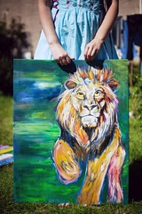DefiAye; My Neighbour the Painter (Mister Brown.) Tags: canon5dmkii ayrshire painters portraits niftyfifty oilpainting painting artists portraitsofartists 50mmprime 50mm lion lionpainting animals scotland scottish