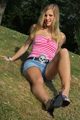 Missy 06 (The Booted Cat) Tags: sexy blonde girl demin jeans hotpants legs feet heels highheels