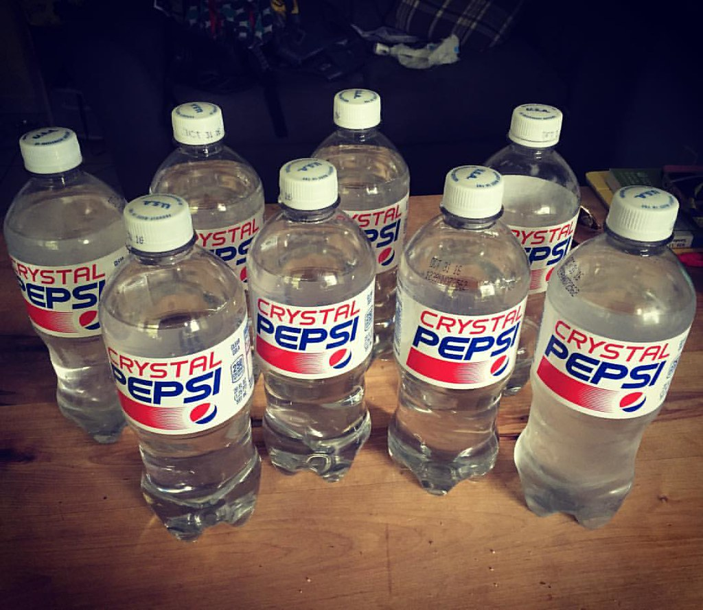 The result of Laura becoming obsessed with a limited time only drink. Every last bottle we could find in town. #crystalpepsi