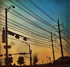 (Photosintheattic (Devy)) Tags: powerlines car signallights crossing vehicle redlight lines wires cables towers trees