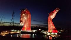 The Lighting of The Kelpies (Michel Curi) Tags: kelpies thekelpies forthandclyde thehelix helixpark falkirk architecture landscape grangemouth britishwaterways scottishcanals scotland greatbritain britain uk unitedkingdom scottish travel visitscotland lovescotland scotspirit