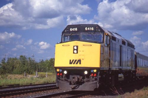 VIA F40PH-2 #6416 near Prescott ON on 8/25/93