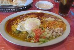 Christmas Enchiladas (dadadreams (Michelle Lanter)) Tags: newmexico santafe enchiladas redchile greenchile valentinas christmasenchiladas