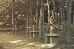 and three (peculiarnothings) Tags: portrait nature stone female forest garden back woods profile clones pedestal siera