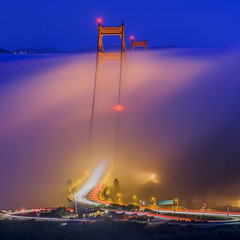 Twisting-Expanse (Murphy Osborne Photo) Tags: golden gate bridge travel adventure fog mist bay area sf san francisco night lights rolling clouds headlights cars twisting marin headlands tunnel view vista