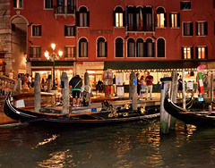 nightlife on the grand canal - venice, italy (christinathomas@att.net) Tags: venice red italy fish color water boats island lights canal colorful grand palace nightlife piazza grandcanal gondolas sanmarco sangiorgio
