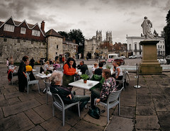 Cafe outside York Art Gallery (Allan Rostron) Tags: york cafes england samyang8mmfisheye