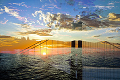 flooded gates (jana-elise) Tags: sunset outdoor skyline dusk water sky sea serene bridge color colors vibrant ggb bayarea bay ocean oceanside seaside coast coastline pacific pacificocean golden goldengatebridge goldengate doubleexposure landscape clouds waves sunse sunrise