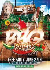 BBQ Party | Psd Flyer Template (Rome Creation) Tags: autumn bar barbecue bbq beachparty burger clean club cocktails cookout festival flyer food foods fourthofjuly grill holidayparty hot leaf modern outside park patioparty pub restaurant springparty summer sun wood romecreation templates flyers template psd stock png spring