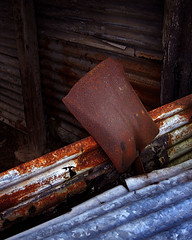 Shed and Shovel (Neil Bryce) Tags: shed shovel spade rust iron decay old corrugated rusty neglected abandoned