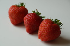 Three Strawberry's (steve_whitmarsh) Tags: strawberry fruit art colour red threeofakind flickrfriday foodanddrink