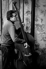 Give Me A Bass. Make It A Double (Ranford Stealth) Tags: fujixt1 fuji35mmf14 fremantle westernaustralia cafe street music musician bass doublebass acousticbass jazz mood blackwhite bw mono monochrome