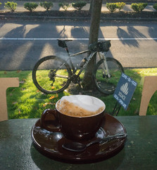 tuesday morning cappuccino (tangocyclist) Tags: shadows sunrise cappuccino coffee bicycle