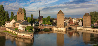 Medieval Bridge, Ponts Couverts and Cathedral - Strasbourg, France, view from Barrage Vauban