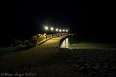 Anissaras Pier, Crete (scotty NEX harper) Tags: sea vacation holiday beach water stone night island lights pier sand mediterranean sony resort greece crete lamps laguna mitsis sonynex3n
