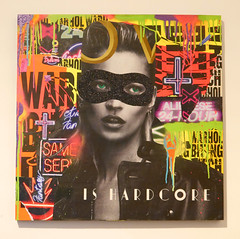 Collagism & Shuby - Kate (cocabeenslinky) Tags: show street city uk england urban house streetart west london art june glitter lumix photography is moss artist ranger gallery mask photos kate collages g united capital hard kingdom exhibition biting panasonic bananas hardcore bitch collab scream lone warhol collaboration core artiste 2015 vario shuby w1w eastcastle 8dh collagism dmcg6 cocabeenslinky screameditions shubyart