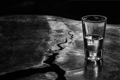 Straight shot (msabba) Tags: drinks rum transparency purity blackandwhite blackwhite shot glass wood table pinga cachaça liquor spirts spirt