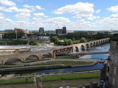 Mill City Museum view (Anita363) Tags: city sky mill minnesota clouds river minneapolis cumulus mississippiriver mn nationalhistoriclandmark washburnamill millcitymuseum nationalregisterofhistoricplaces cumulushumilis
