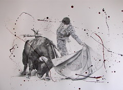 Ole. (www.kevinmaxwellsfineart.com) Tags: bulls bullfighting josetomas graphite chinagraph blood anegitive blackandwhite toros torosymatadores matadores drawing spanish espana ole