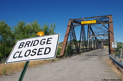 Bridge Closed (walkerross42) Tags: owsleybridge bridge sign closed abandoned snakeriver hagerman idaho