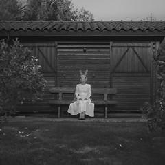 Emily serie (Pedro Daz Molins) Tags: emily serie set black white blanco negro rabbit conejo garden jardin girl chica retro vintage pedro diaz molins nikon d800 conceptual surrealism surreal surrealist surrealismo surrealista square