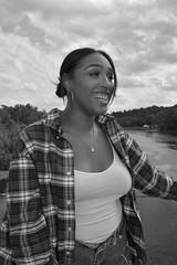 'Fee' iii. (miranda.valenti12) Tags: bridge portrait sky blackandwhite water smiling fashion river felicia landscape outside outdoors happy rocks stream expression horizon windy plaid facial fee uphigh cheesing cheesin