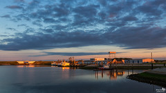 Outer Harbour, Stellendam (BraCom (Bram)) Tags: bridge cloud haven holland netherlands clouds port canon reflections evening harbor widescreen nederland wolken nl brug avond fishingboats 169 stellendam wolk zuidholland goereeoverflakkee spiegeling knrm fishauction rescueboat southholland visafslag canonef24105mm vissersschepen bracom canoneos5dmkiii bramvanbroekhoven