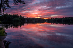 Summer Night (Jens Haggren) Tags: olympus em1 sunset sky water cloud clouds colours reflections trees landscape lake night light summer nacka sweden