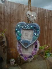 custom order (jessicagreen5) Tags: gift bling sparkle rhinestones decoration decoden blue seaside chic shabby jute hearts photoframes heart