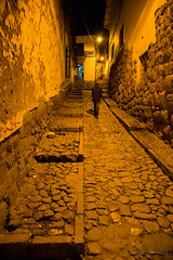 Cusco Side Street - 2 (cheryl strahl) Tags: peru cusco architecture inca colonialspanish stones alleys walkways streets streetlamp glow evening cobblestone ngc