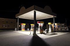 Gas Station (Curtis Gregory Perry) Tags: sisters oregon night gas station canopy shadow light shell pump fuel nikon d800e longexposure saloon ranch grill building service