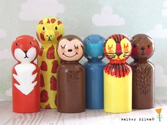 Finally got around to listing this pack of animal #pegdolls to my #etsy shop! #doodled #animals wooden #toys👍🎨✏️ #waldorf #handmadetoys #zooAnimals #bear #fox #giraffe #monkey #hippopotamus #hippo #lion #handpainted (waltersilvausa) Tags: arttoys grossmotorskills playtimetoys monkey beat fox giraffe hippo lion doodles folkartanimals peggies woodentoys jungleanimals zooanimals handmadetoys waldorftoys instagramapp square squareformat iphoneography