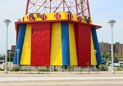 . (SA_Steve) Tags: parachutejump coneyisland yellow red blue primarycolors ride closed nolongeroperating nyc newyorkcity