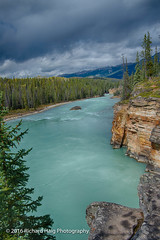 Athabasca River in Jasper National Park (RichHaig) Tags: athabascariver landscape nikonafsnikkor2412014ged water mountains jaspernationalpark richhaig gitzotripod rocks trees river alberta snow canada 93a icefieldsparkway nikond800 clouds