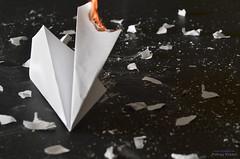 Crash and Burn (Tyson J) Tags: white black hot plane paper fire fly nikon tyson crash air debris flight burning burn scraps paperairplane sb800 strobist d7000