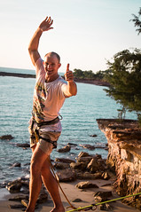 Reubz!!! (Kyle Taylr) Tags: ocean sunset cliff beach walking climb australia climbing balance height slackline highline
