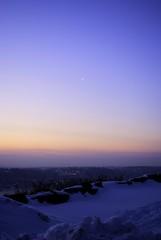 Moon & Star (jc1305us) Tags: blue winter sky moon snow newyork cold colors sunrise dawn star newjersey nikon hike crescent hudsonriver palisades westchester d3000