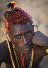 Rendille Tribesman, Marsabit District, Ngurunit, Kenya (Eric Lafforgue) Tags: africa shirtless portrait people beauty vertical closeup outdoors person photography necklace day adult kenya african pride tribal headshot jewellery human warrior ornate tribe moran hairstyle samburu cultures beautifulpeople adultsonly oneperson headdress headwear kenyan eastafrica rift traditionalclothing realpeople colorimage lookingatcamera onlymen onemanonly colourimage 1people indigenousculture rendille ethny rendile ngurunit colourpicture marsabitdistrict kenya201402775