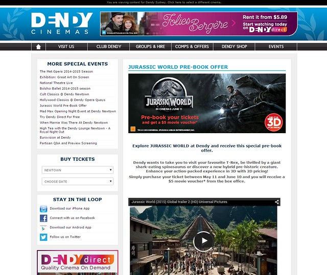 Jurassic World Pre-Book $5 offer Event Page with EPH