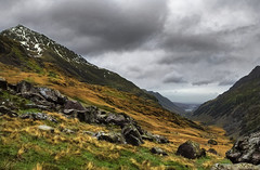 Snowdon (jaygilmour11) Tags: snowdonia snowdon wales grass trees sky grey green yellow view landscape clouds rocks snow valley moody