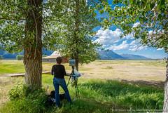 artist painting t. a. moulton barn (johncarney) Tags: usa america artist unitedstates wyoming jacksonhole mormonrow antelopeflats enpleinair moultonbarn tamoultonbarn